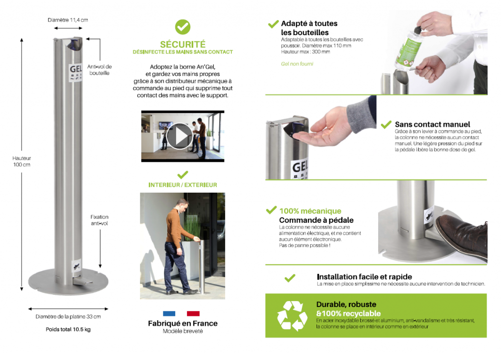 colonne distributeur gel hydroalcoolique